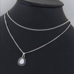 Jewelry - Silver Layered Chain Necklace with stone